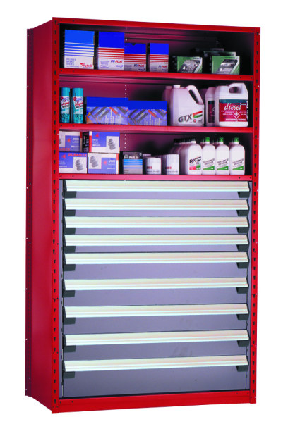 Rousseau Parts Shelving Red